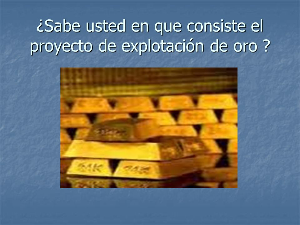 ¿Sabe usted en que consiste el proyecto de explotación de oro