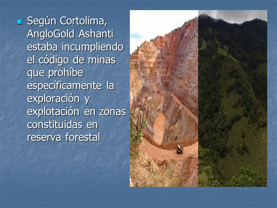 Según Cortolima, AngloGold Ashanti estaba incumpliendo el código de minas que prohíbe específicamente la exploración y explotación en zonas constituidas en reserva forestal