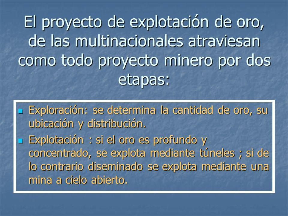 El proyecto de explotación de oro, de las multinacionales atraviesan como todo proyecto minero por dos etapas: