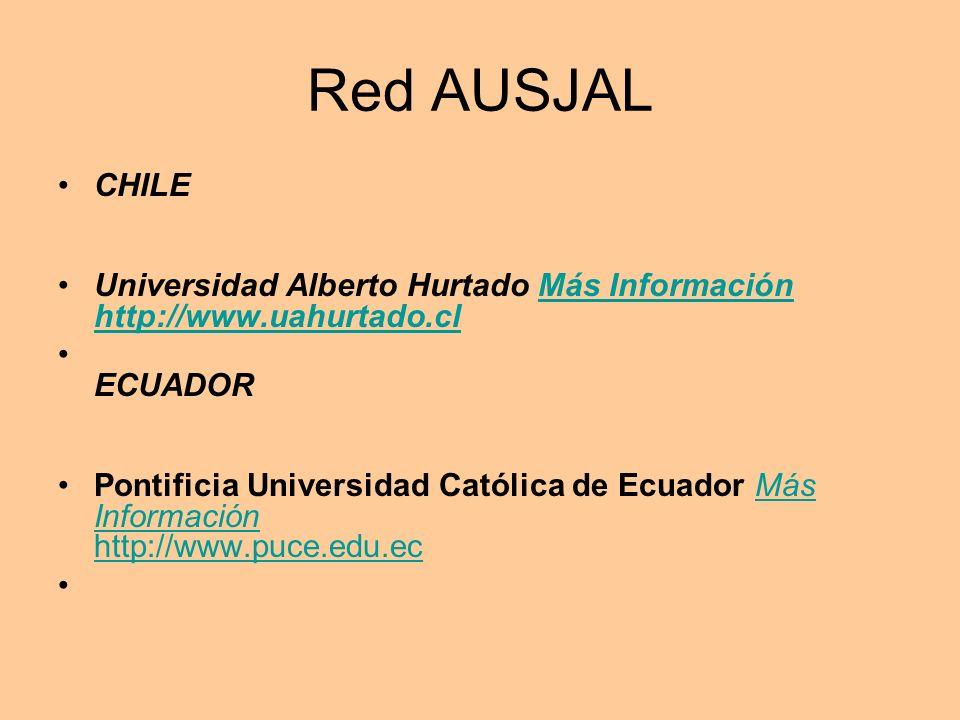 Red AUSJAL CHILE. Universidad Alberto Hurtado Más Información http://www.uahurtado.cl. ECUADOR.
