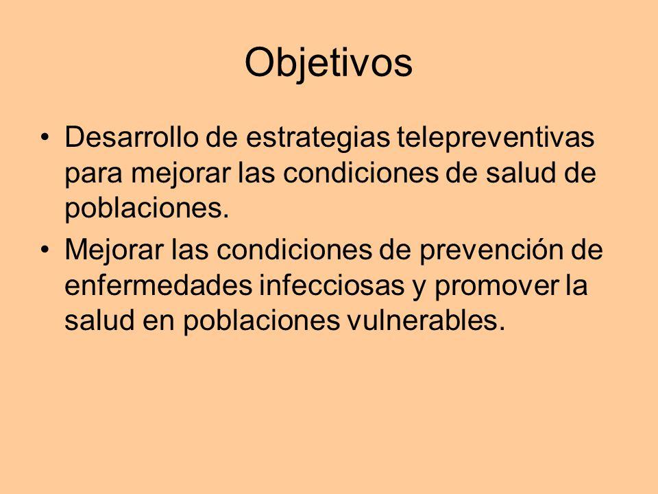 Objetivos Desarrollo de estrategias telepreventivas para mejorar las condiciones de salud de poblaciones.