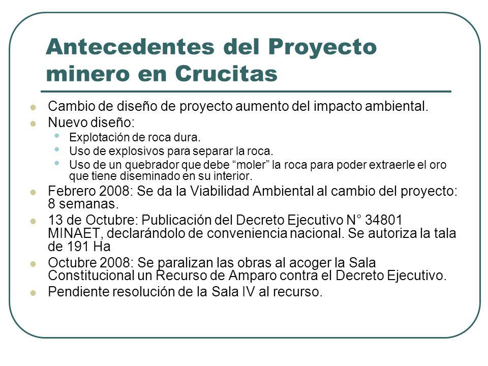 Antecedentes del Proyecto minero en Crucitas