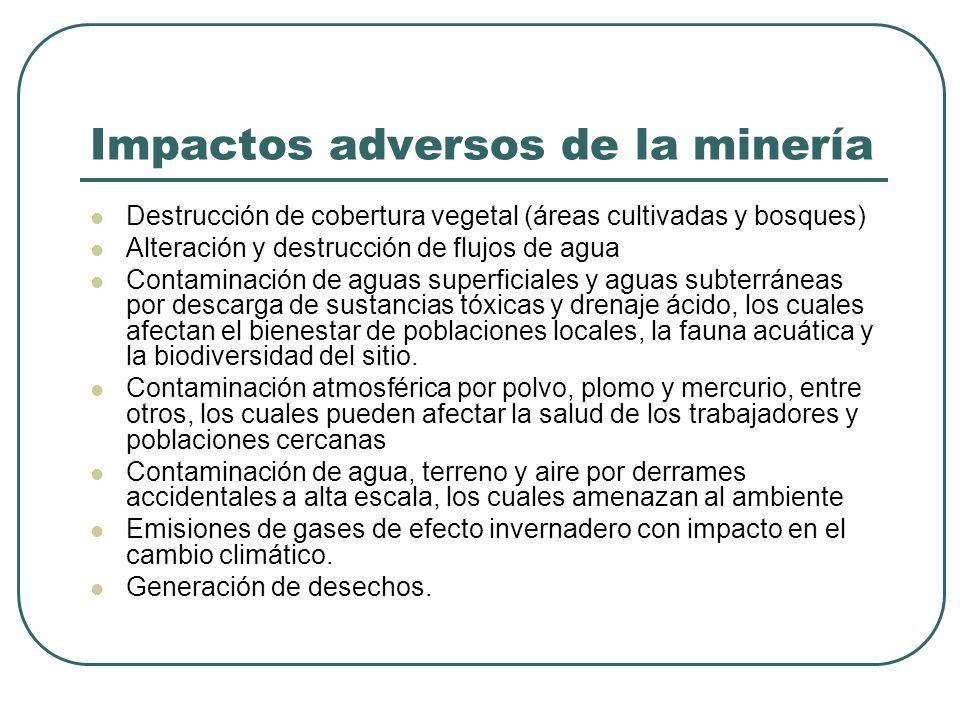 Impactos adversos de la minería