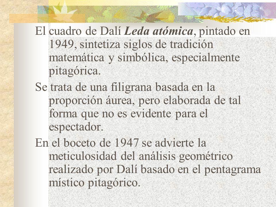 El cuadro de Dalí Leda atómica, pintado en 1949, sintetiza siglos de tradición matemática y simbólica, especialmente pitagórica.