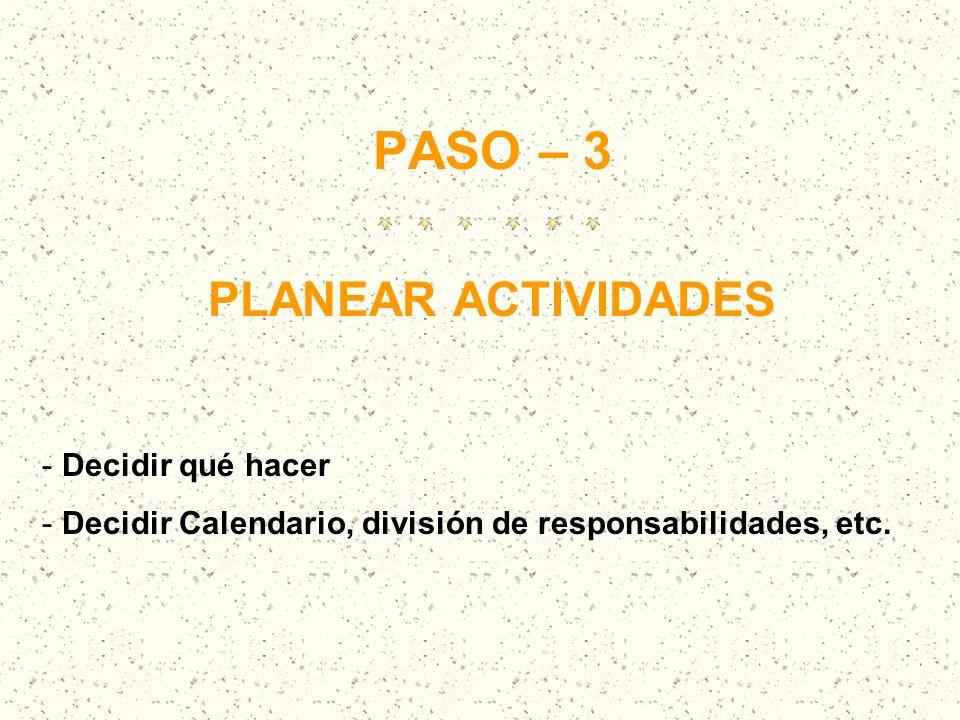 PASO – 3 PLANEAR ACTIVIDADES Decidir qué hacer