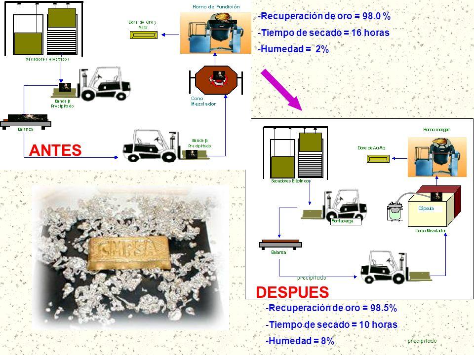ANTES DESPUES Recuperación de oro = 98.0 % Tiempo de secado = 16 horas