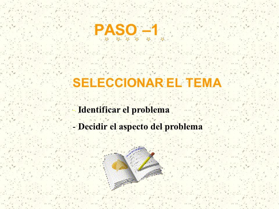 PASO –1 SELECCIONAR EL TEMA Identificar el problema