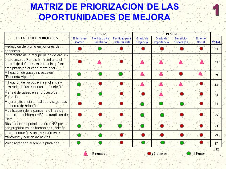 MATRIZ DE PRIORIZACION DE LAS OPORTUNIDADES DE MEJORA