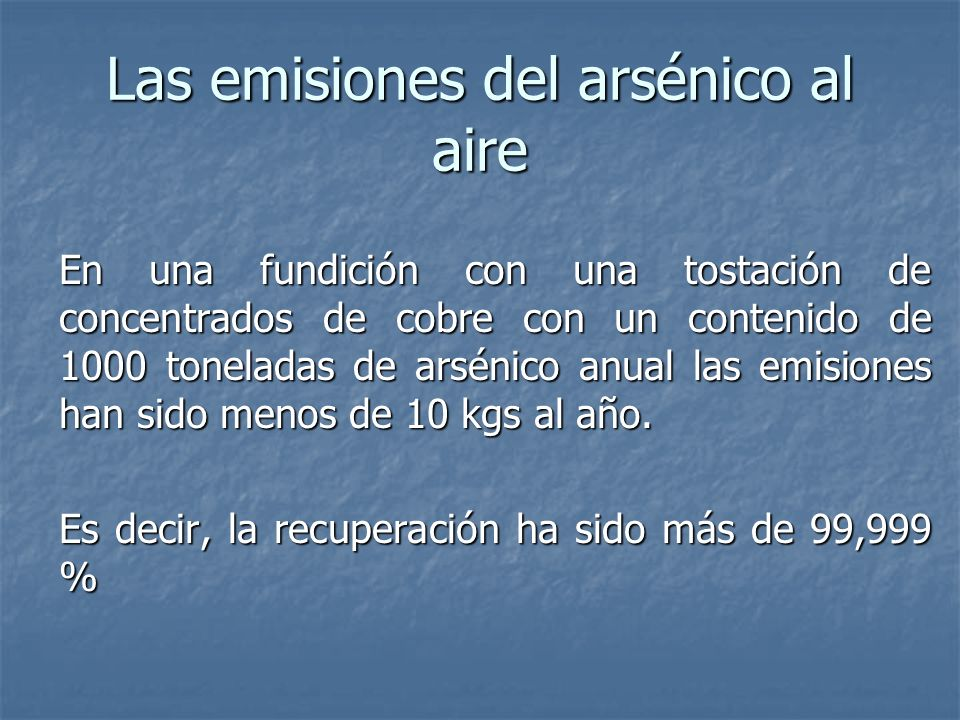 Las emisiones del arsénico al aire