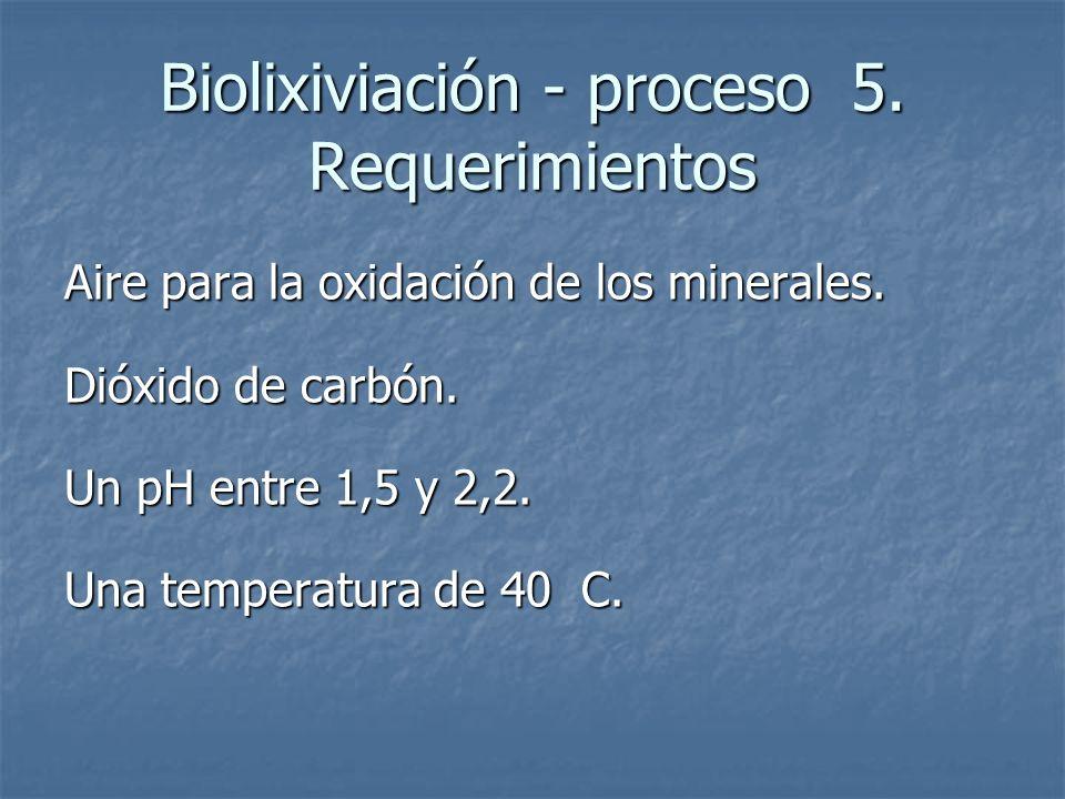 Biolixiviación - proceso 5. Requerimientos