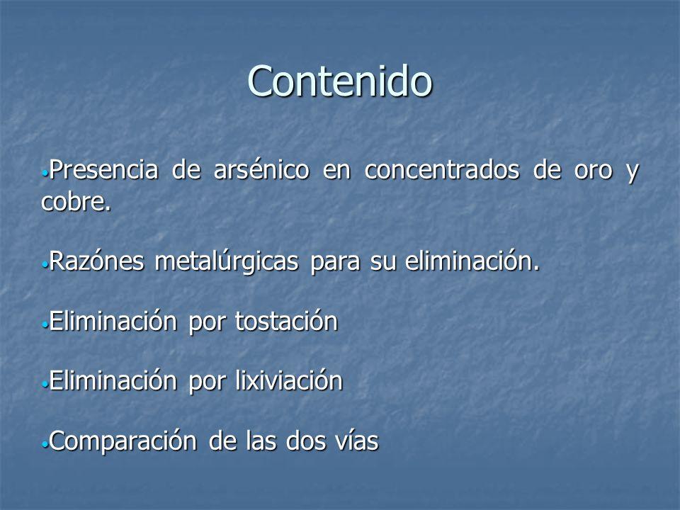Contenido Presencia de arsénico en concentrados de oro y cobre.