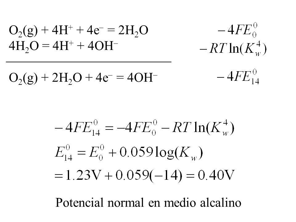 O2(g) + 4H+ + 4e = 2H2O 4H2O = 4H+ + 4OH O2(g) + 2H2O + 4e = 4OH Potencial normal en medio alcalino.