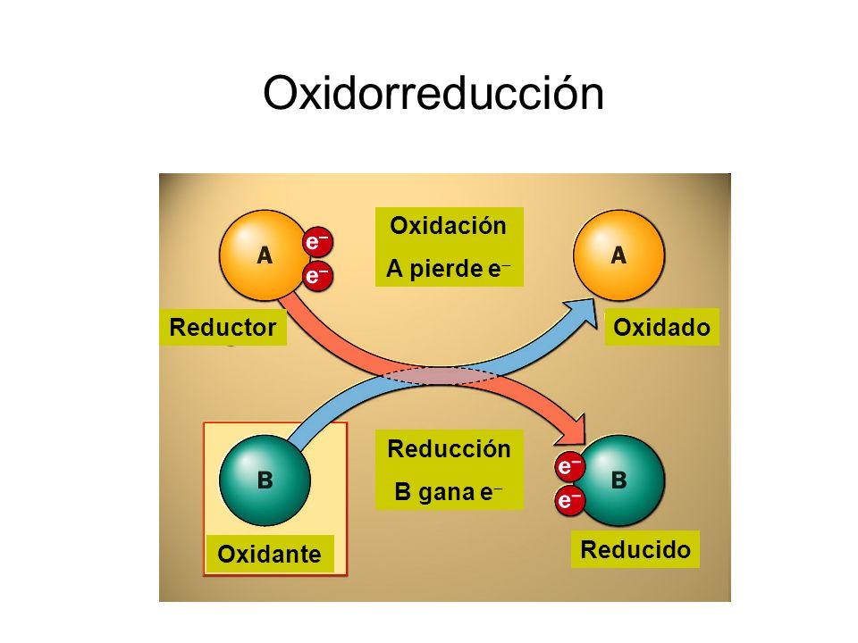 Oxidorreducción Oxidación A pierde e Reductor Oxidado Reducción