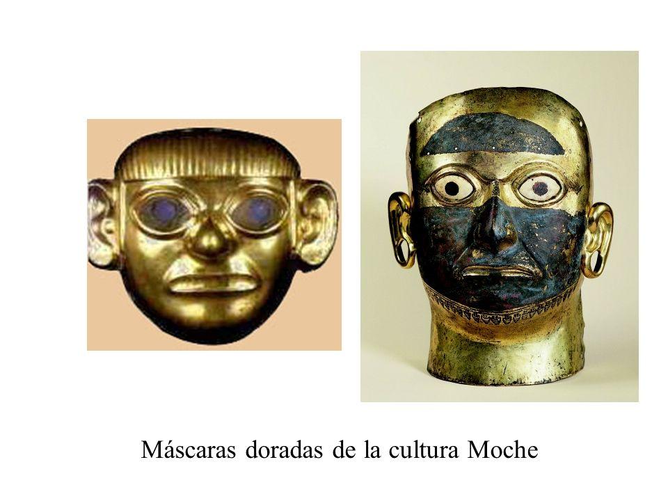 Máscaras doradas de la cultura Moche