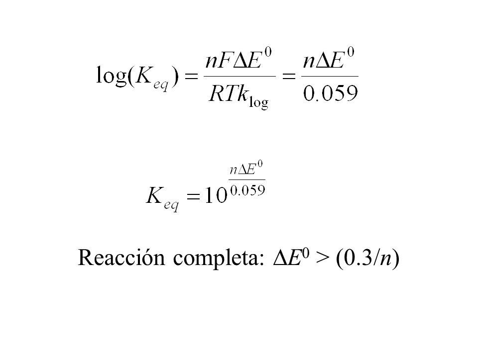 Reacción completa: DE0 > (0.3/n)