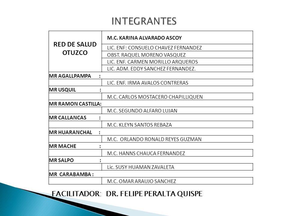 INTEGRANTES RED DE SALUD OTUZCO FACILITADOR: DR. FELIPE PERALTA QUISPE