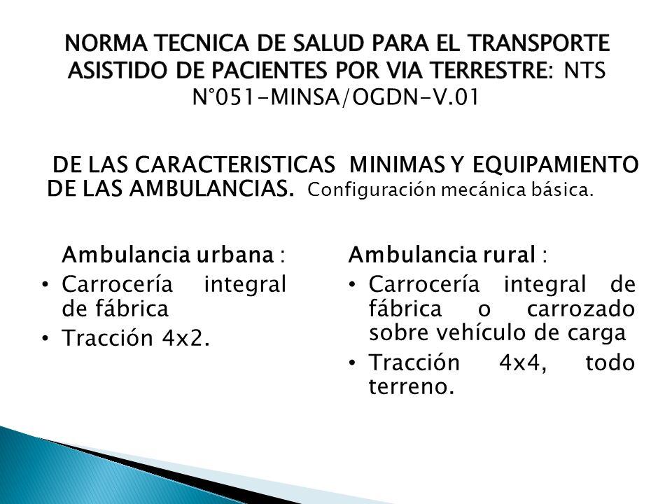 Carrocería integral de fábrica Tracción 4x2. Ambulancia rural :