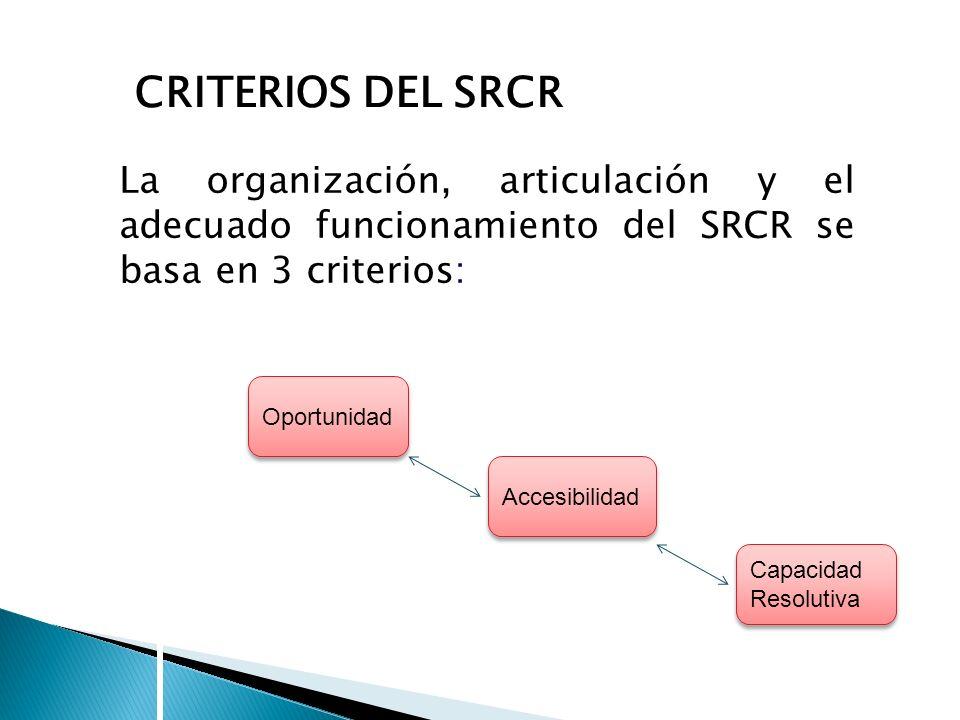 CRITERIOS DEL SRCR La organización, articulación y el adecuado funcionamiento del SRCR se basa en 3 criterios: