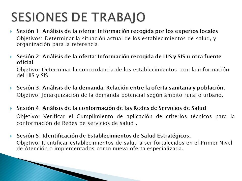 SESIONES DE TRABAJO Sesión 1: Análisis de la oferta: Información recogida por los expertos locales.