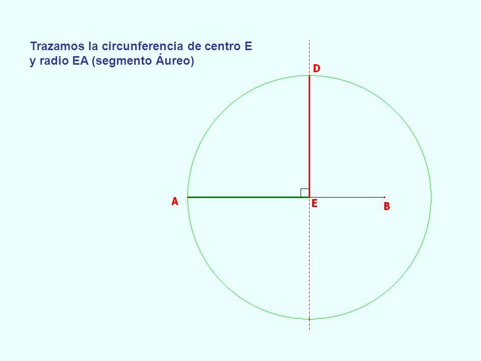 Trazamos la circunferencia de centro E