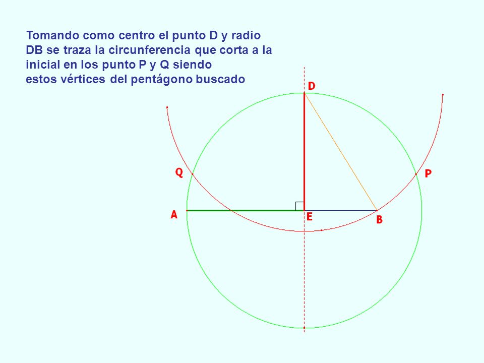 Tomando como centro el punto D y radio