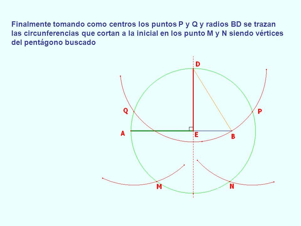 Finalmente tomando como centros los puntos P y Q y radios BD se trazan las circunferencias que cortan a la inicial en los punto M y N siendo vértices del pentágono buscado
