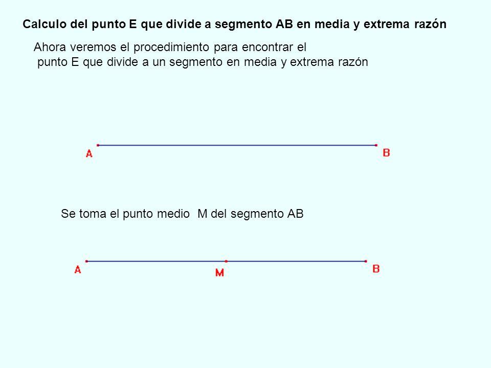 Calculo del punto E que divide a segmento AB en media y extrema razón