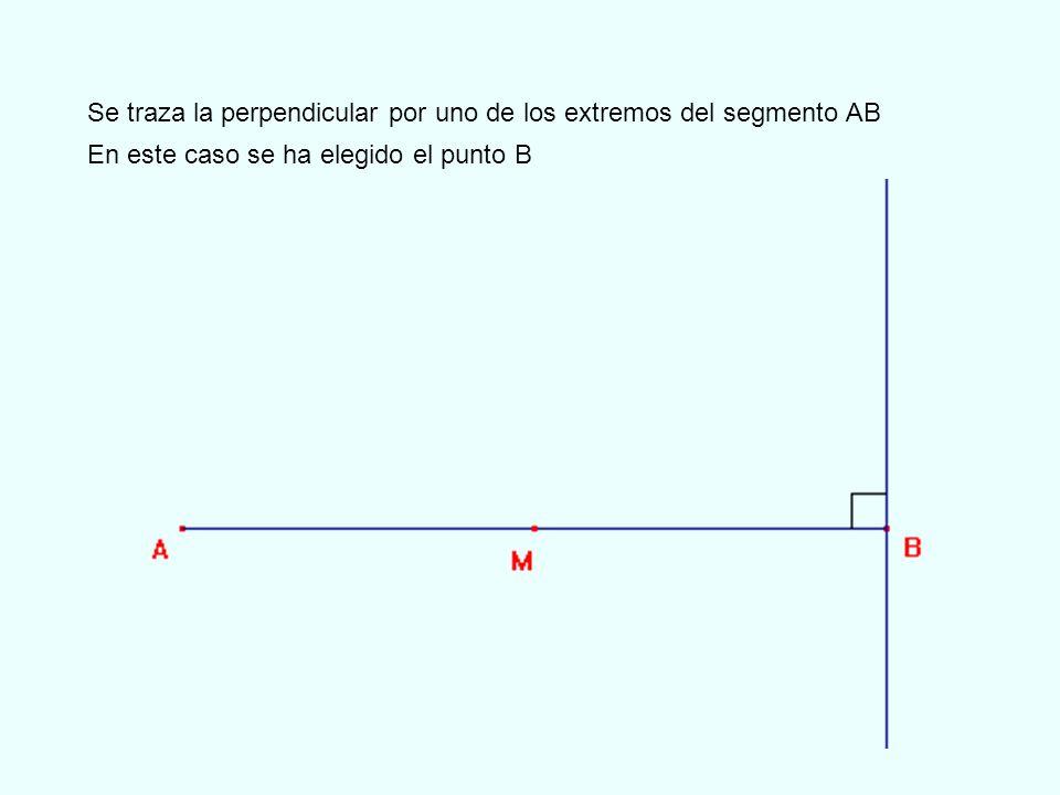 Se traza la perpendicular por uno de los extremos del segmento AB