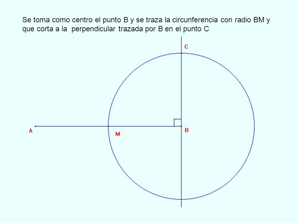 Se toma como centro el punto B y se traza la circunferencia con radio BM y