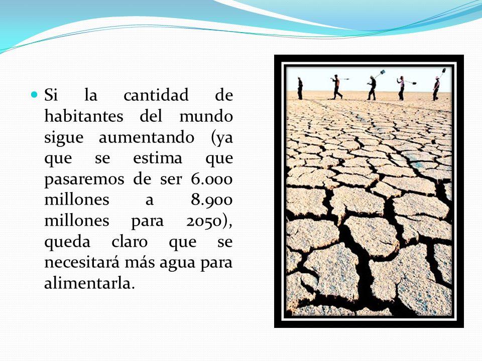 Si la cantidad de habitantes del mundo sigue aumentando (ya que se estima que pasaremos de ser 6.000 millones a 8.900 millones para 2050), queda claro que se necesitará más agua para alimentarla.