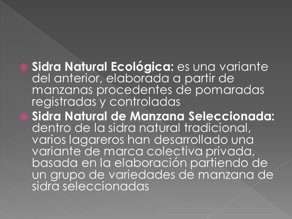 Sidra Natural Ecológica: es una variante del anterior, elaborada a partir de manzanas procedentes de pomaradas registradas y controladas
