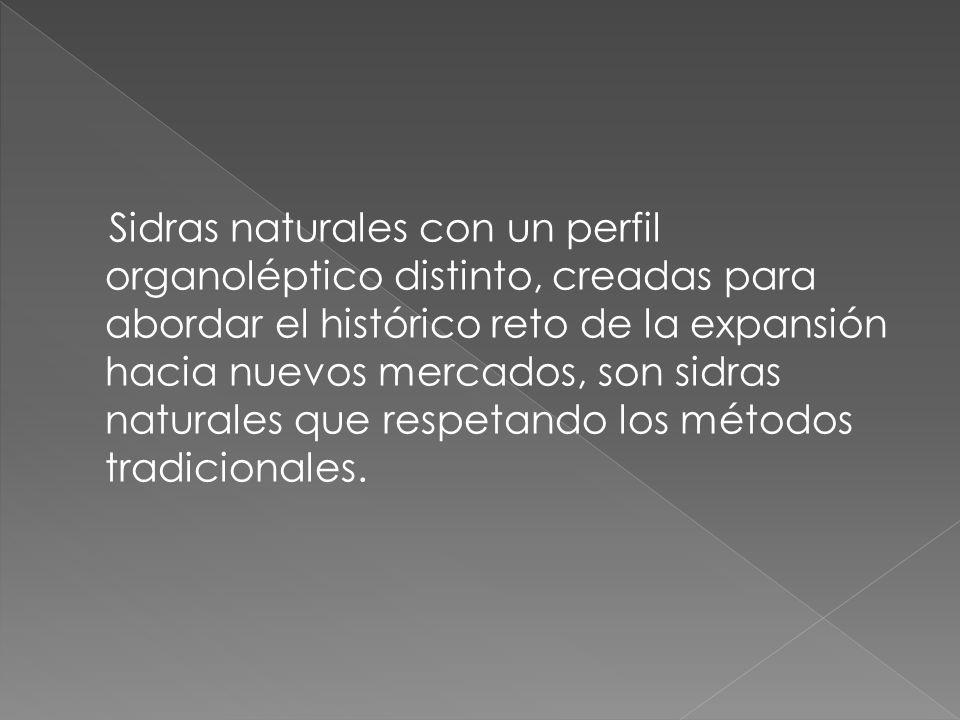 Sidras naturales con un perfil organoléptico distinto, creadas para abordar el histórico reto de la expansión hacia nuevos mercados, son sidras naturales que respetando los métodos tradicionales.
