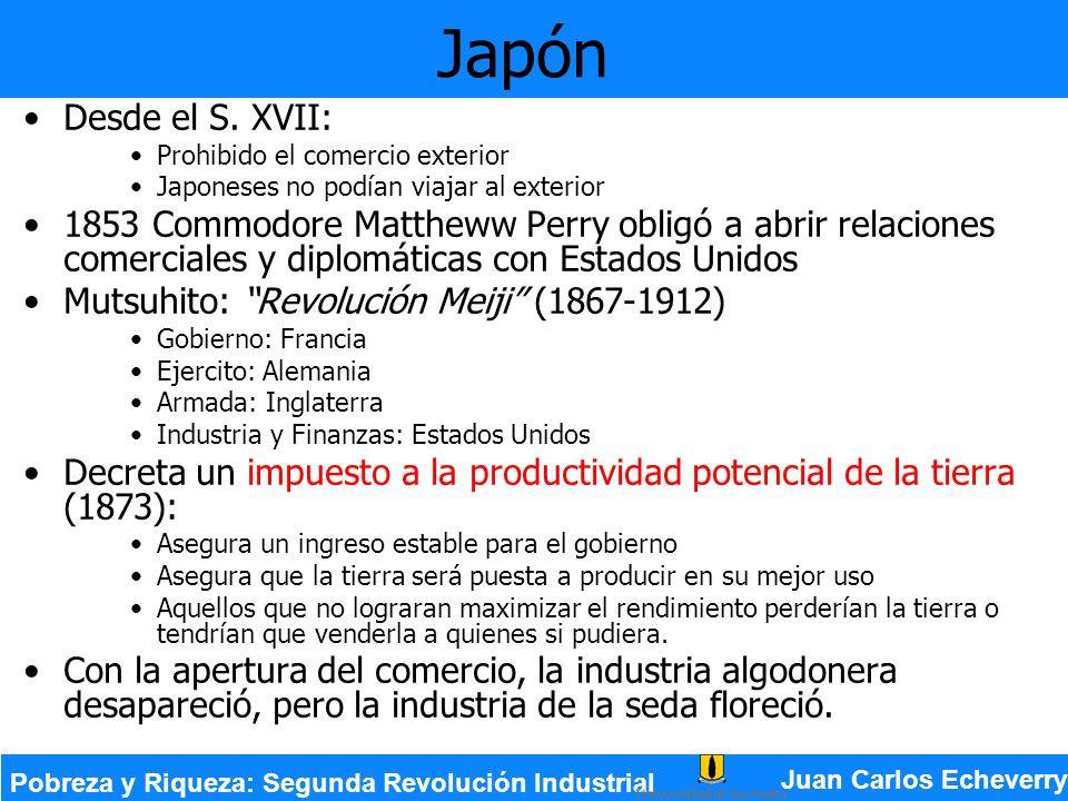 Japón Desde el S. XVII: Prohibido el comercio exterior. Japoneses no podían viajar al exterior.