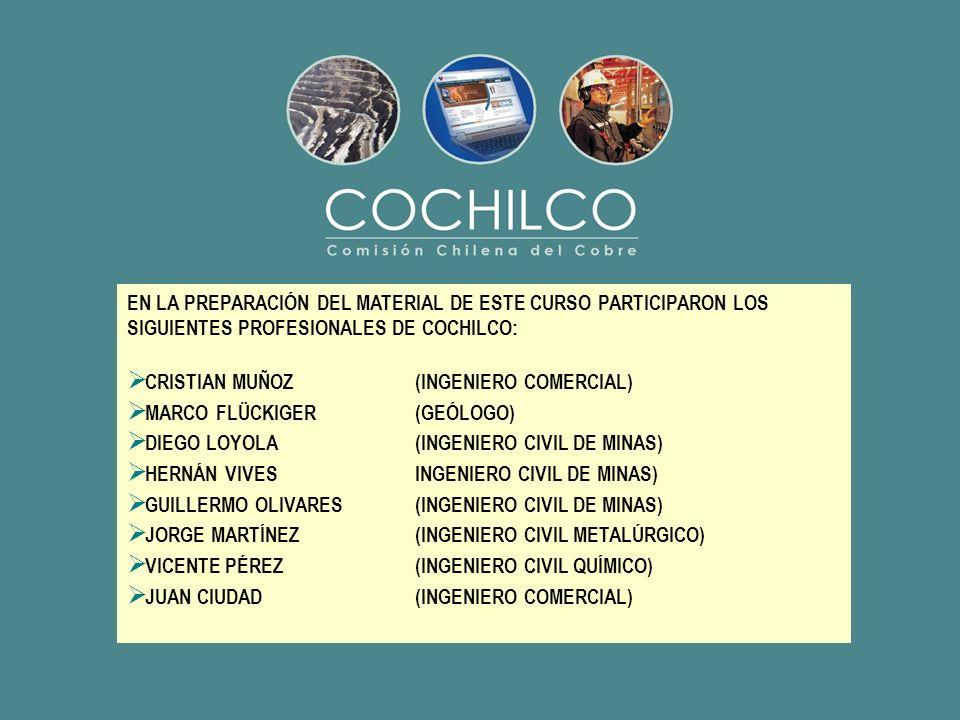 EN LA PREPARACIÓN DEL MATERIAL DE ESTE CURSO PARTICIPARON LOS SIGUIENTES PROFESIONALES DE COCHILCO: