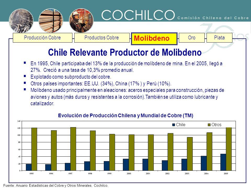 Chile Relevante Productor de Molibdeno