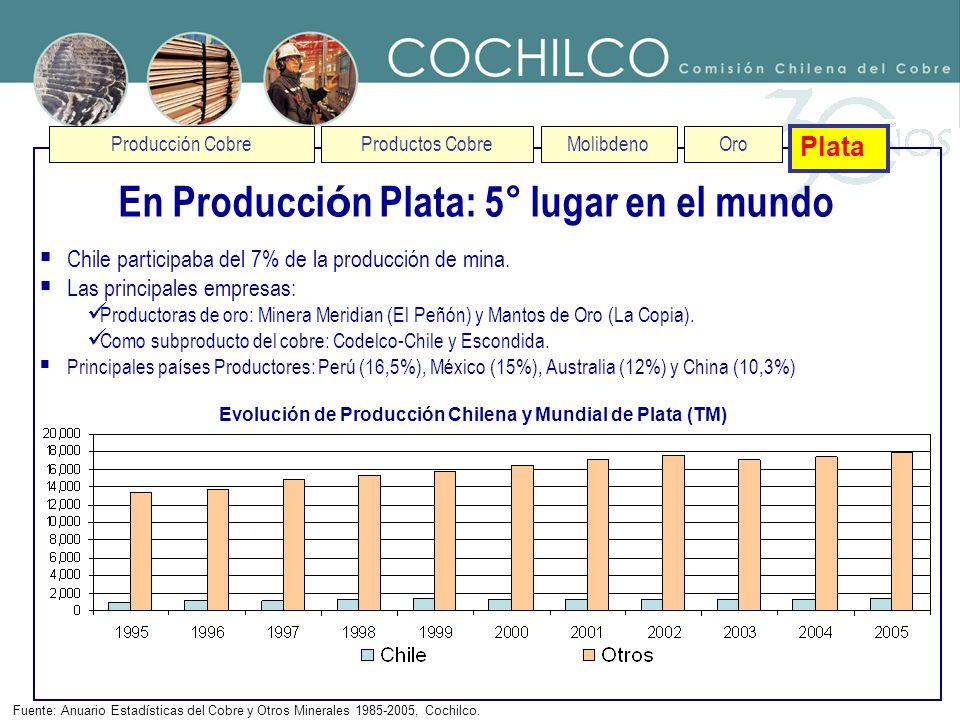 En Producción Plata: 5° lugar en el mundo