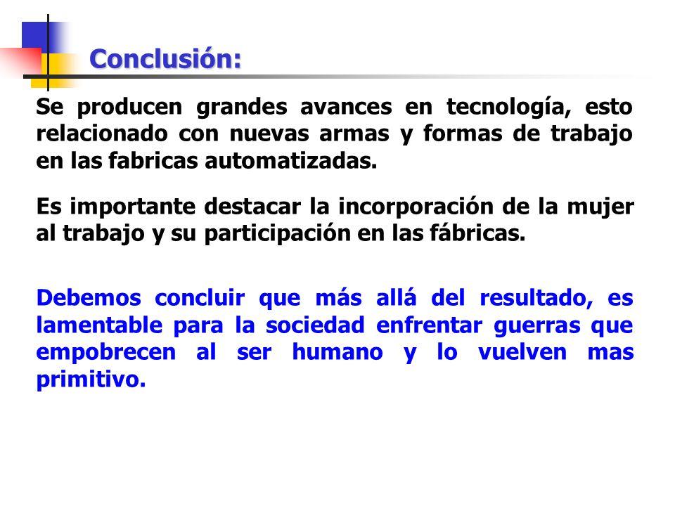 Conclusión: Se producen grandes avances en tecnología, esto relacionado con nuevas armas y formas de trabajo en las fabricas automatizadas.