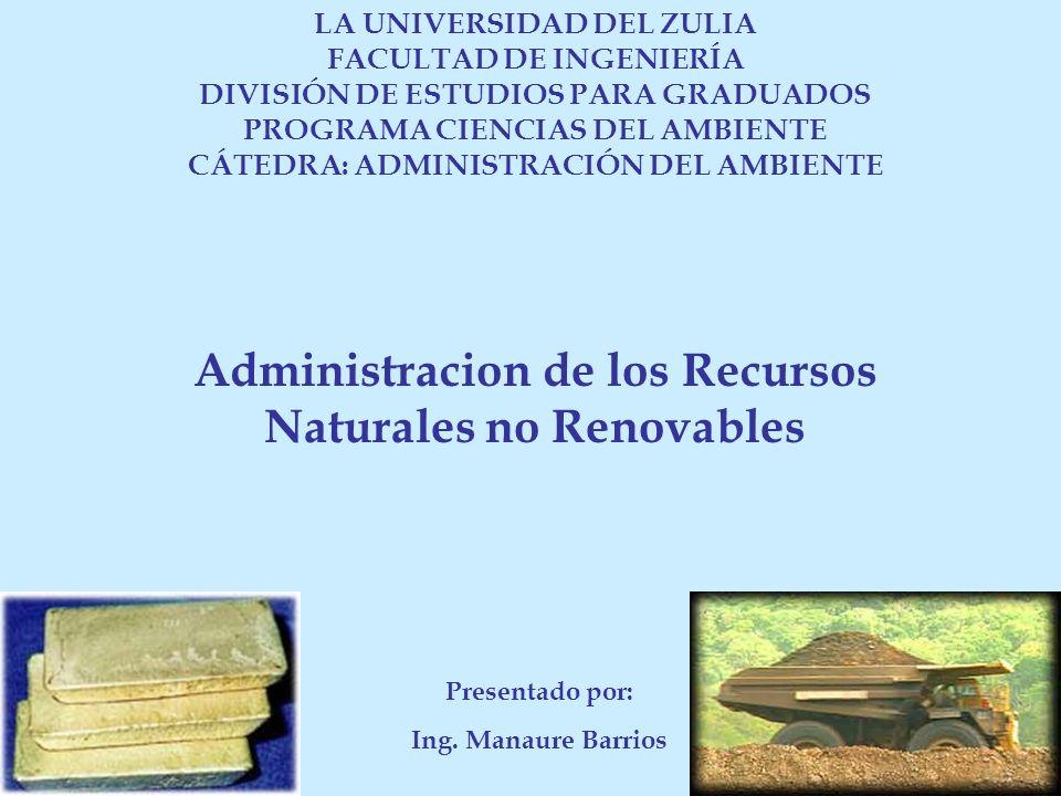 Administracion de los Recursos Naturales no Renovables