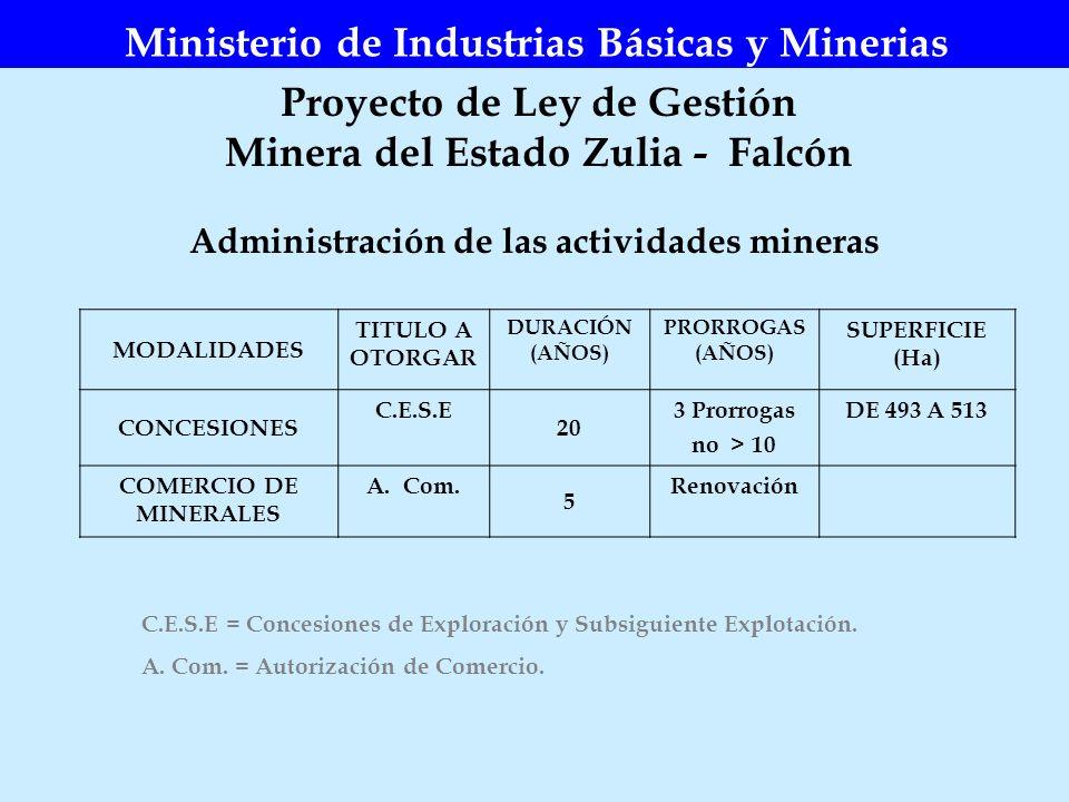 Ministerio de Industrias Básicas y Minerias Proyecto de Ley de Gestión