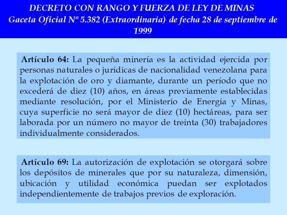 DECRETO CON RANGO Y FUERZA DE LEY DE MINAS Gaceta Oficial Nº 5
