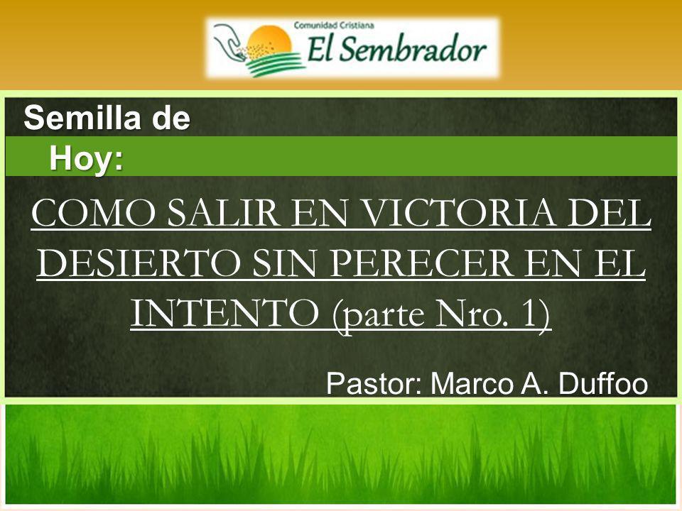 Semilla de Hoy: COMO SALIR EN VICTORIA DEL DESIERTO SIN PERECER EN EL INTENTO (parte Nro.