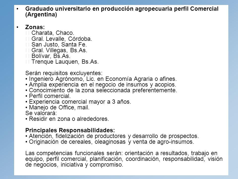 Graduado universitario en producción agropecuaria perfil Comercial (Argentina)