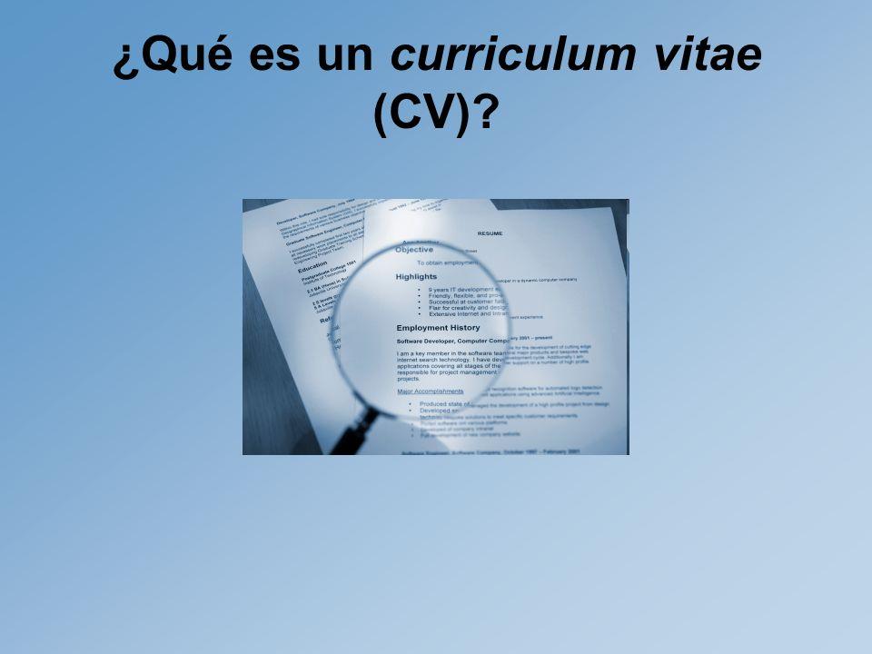 ¿Qué es un curriculum vitae (CV)