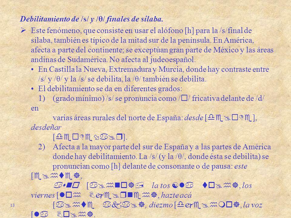 Debilitamiento de /s/ y /θ/ finales de sílaba.