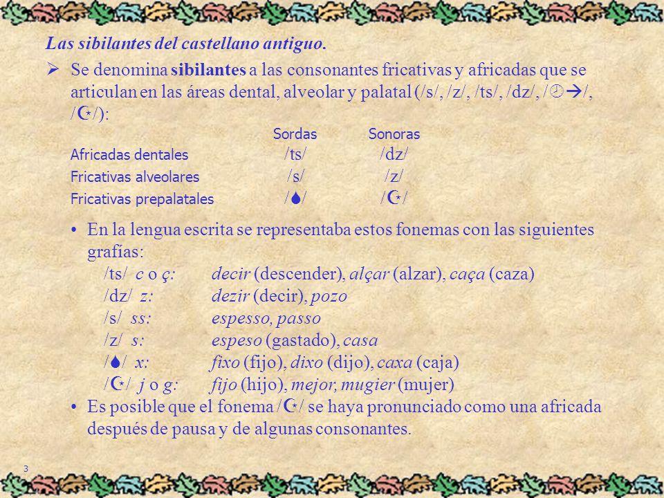 Las sibilantes del castellano antiguo.