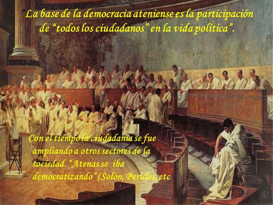 La base de la democracia ateniense es la participación de todos los ciudadanos en la vida política .