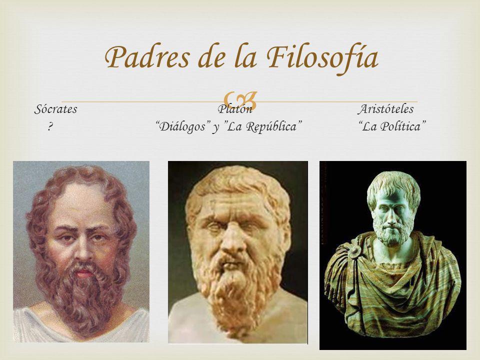 Padres de la Filosofía Sócrates Platón Aristóteles Diálogos y La República La Política