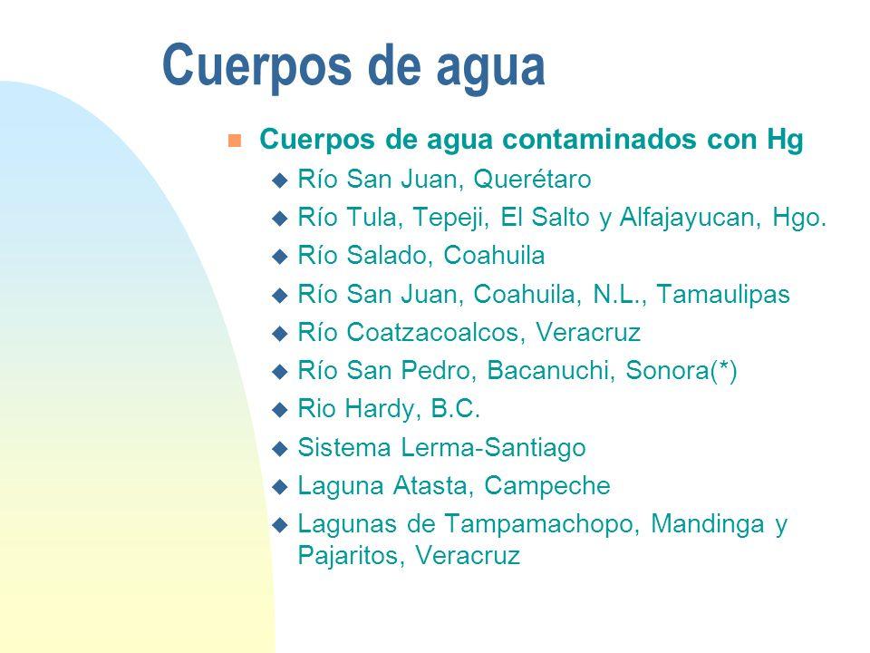 Cuerpos de agua Cuerpos de agua contaminados con Hg