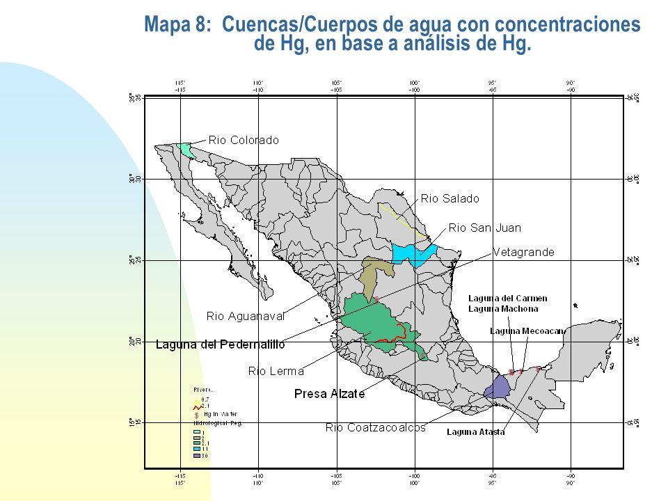 Mapa 8: Cuencas/Cuerpos de agua con concentraciones de Hg, en base a análisis de Hg.