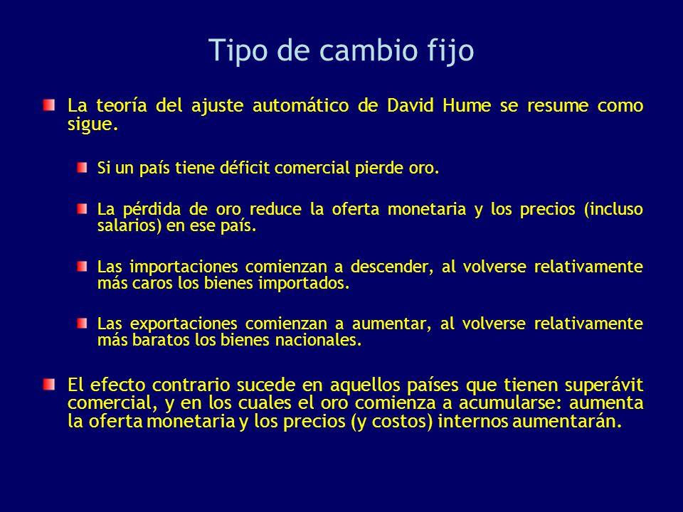 Tipo de cambio fijo La teoría del ajuste automático de David Hume se resume como sigue. Si un país tiene déficit comercial pierde oro.